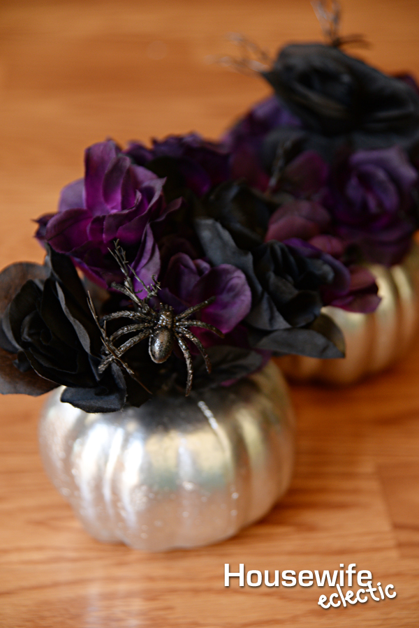 easy dollar store metallic pumpkin flower arrangement