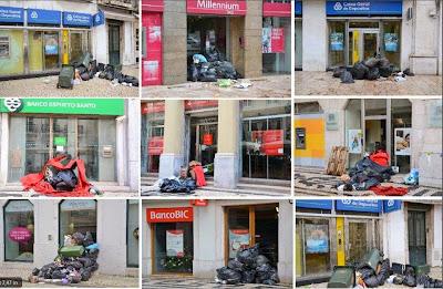Lixo despejado à porta dos Bancos em Lisboa
