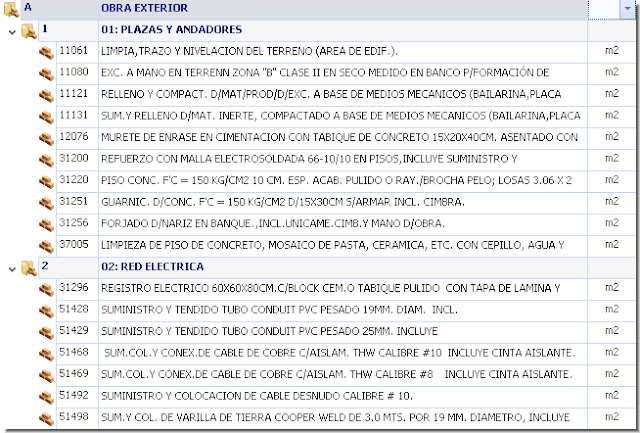 Opus Planet 009 importar obra (catalogo de conceptos) de Excel a Opus Planet