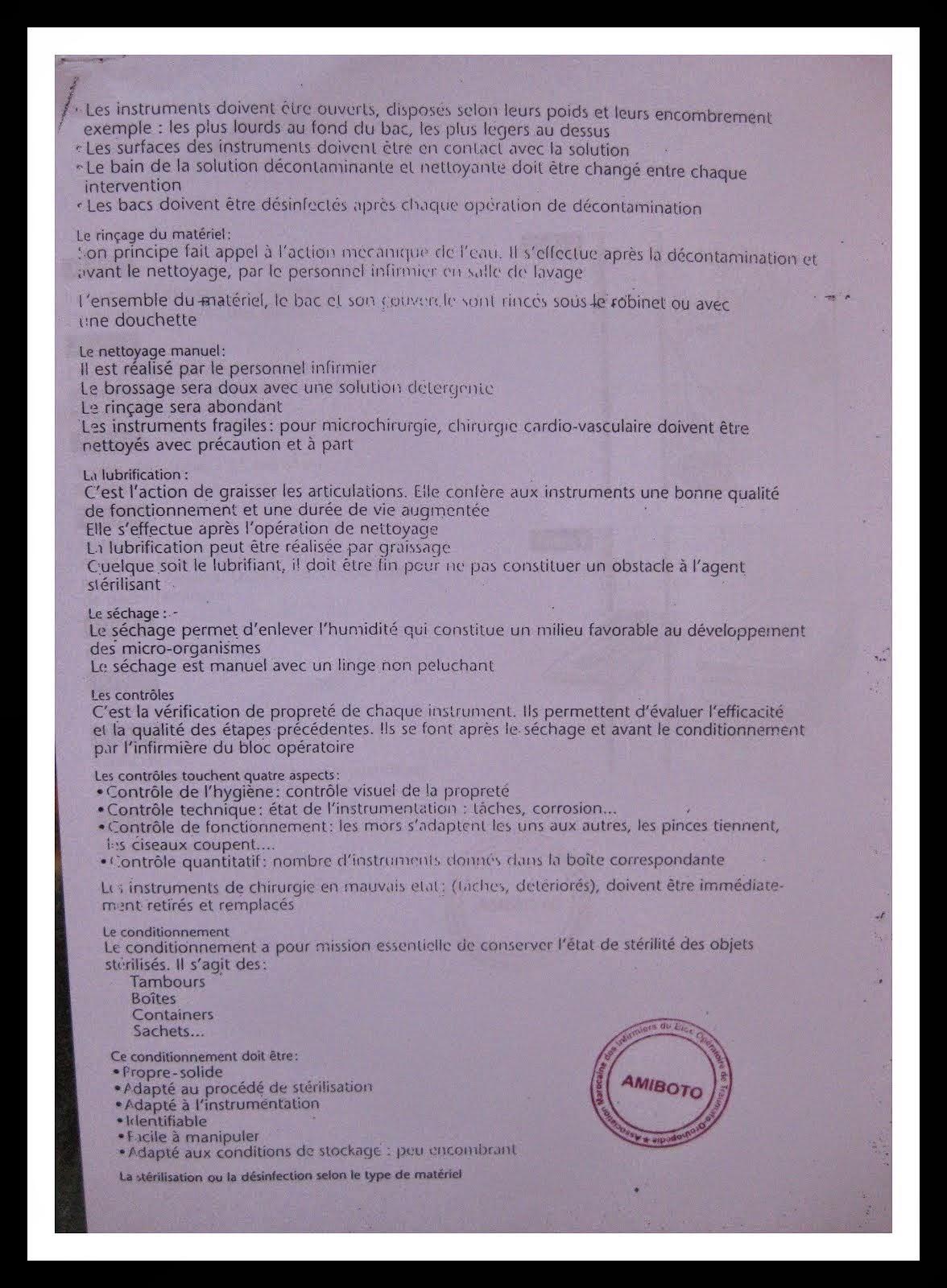 TRAITEMENT DE L INSTRUMENTATION UTILISEE AU BLOC OERTOIRE