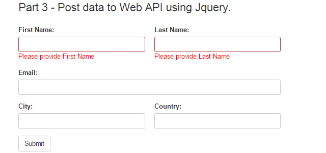 Part 3 - How to post data with validation in the ASP.NET Web API using Jquery