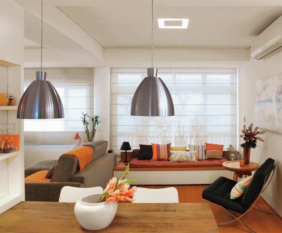 aproveitamento do espaço no ambiente da sala de estar e jantar - detalhe para Cadeira Barcelona - Revista Casa Abril