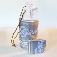 Antique french ticking toiletry bag by angel's hair