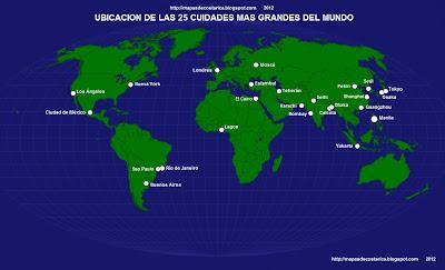 Mapamundi, seterra, nombre de las 25 ciudades mas grandes del mundo
