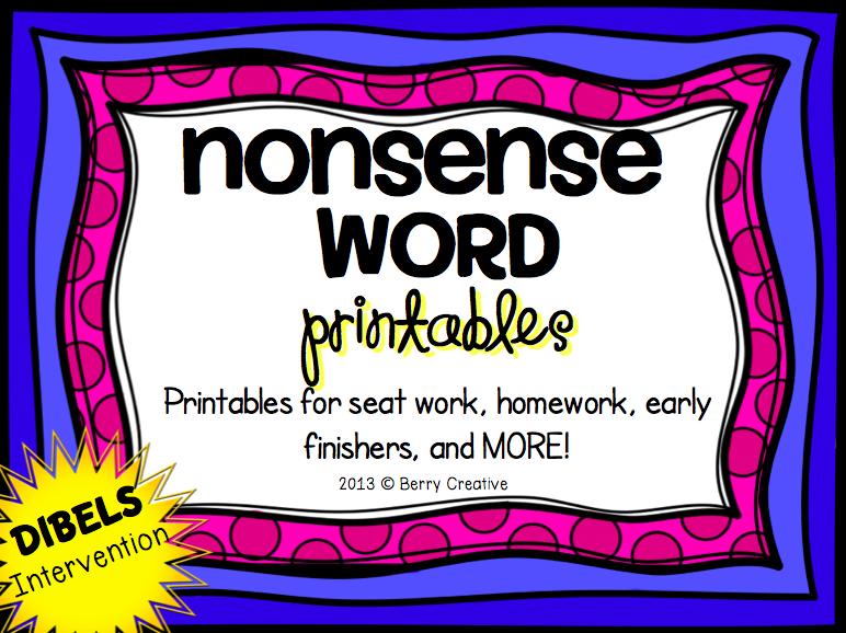 http://www.teacherspayteachers.com/Product/Nonsense-Word-Printables-DIBELS-Intervention-1049872