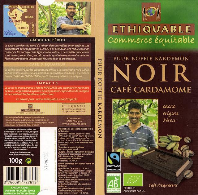 tablette de chocolat noir gourmand ethiquable pérou noir café cardamome