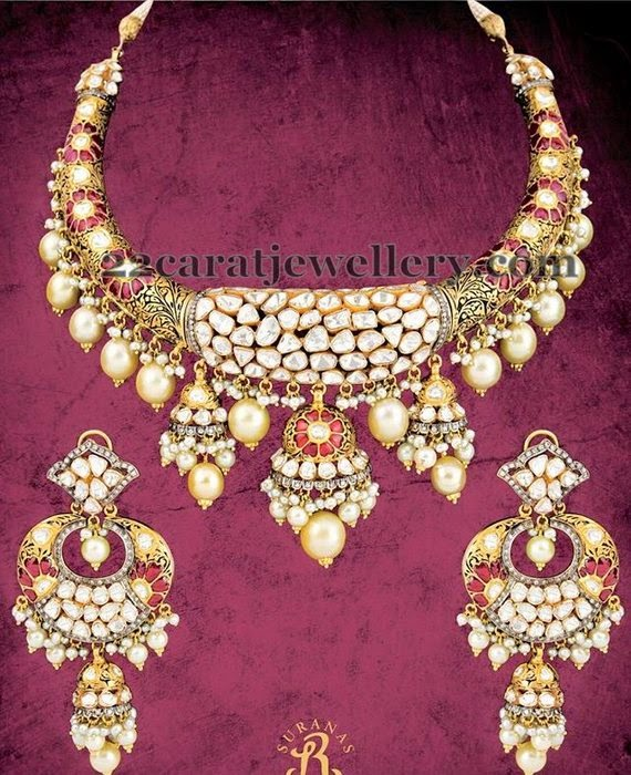 Meena Necklace with Huge Jhumkas