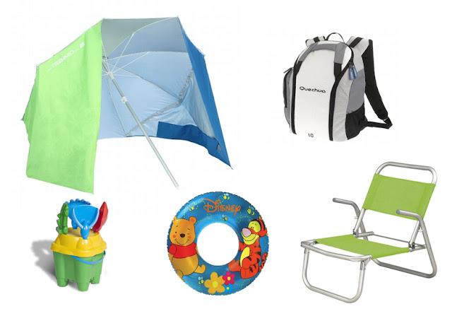 Kit para playa o piscina ( sombrilla tienda de campaña, mochila nevera, silla playa, flotador y cubo de playa)