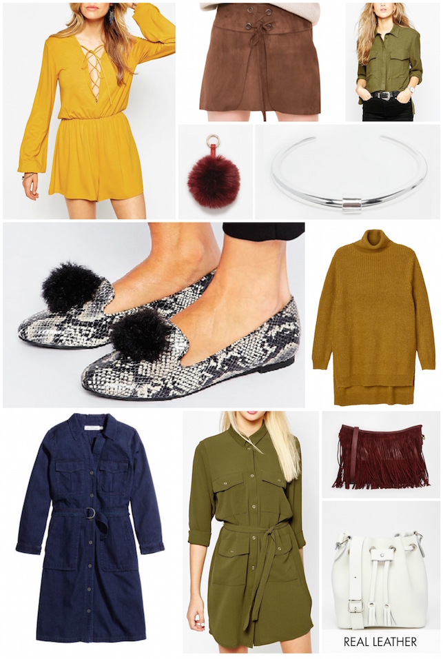 ASOS, H and M, Monki, Pull and Bear, winter, wish list, Zara, wishlist, 70's, 70s, colour, utility dress, lace up, pom pom,