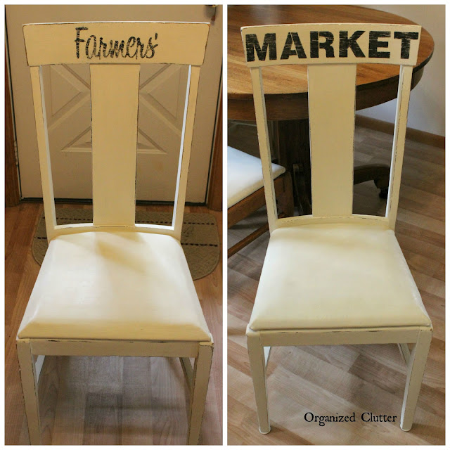 Farmhouse Chairs Stenciled with FJI Old Sign Stencils www.organizedclutter.net