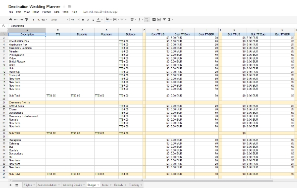Destination Wedding Planner Spreadsheet Now Available From Google Docs