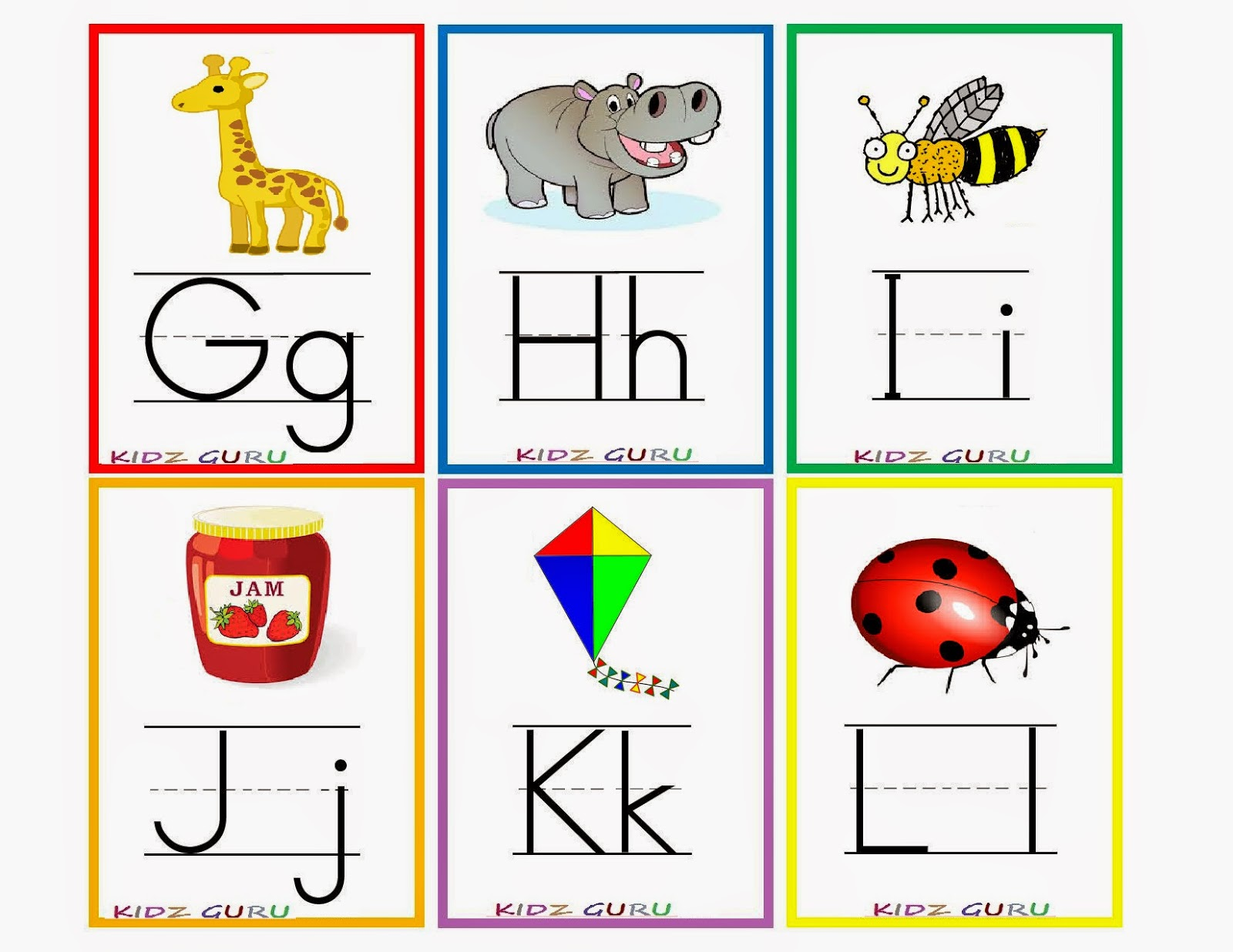 Bright image inside free printable abc flashcards