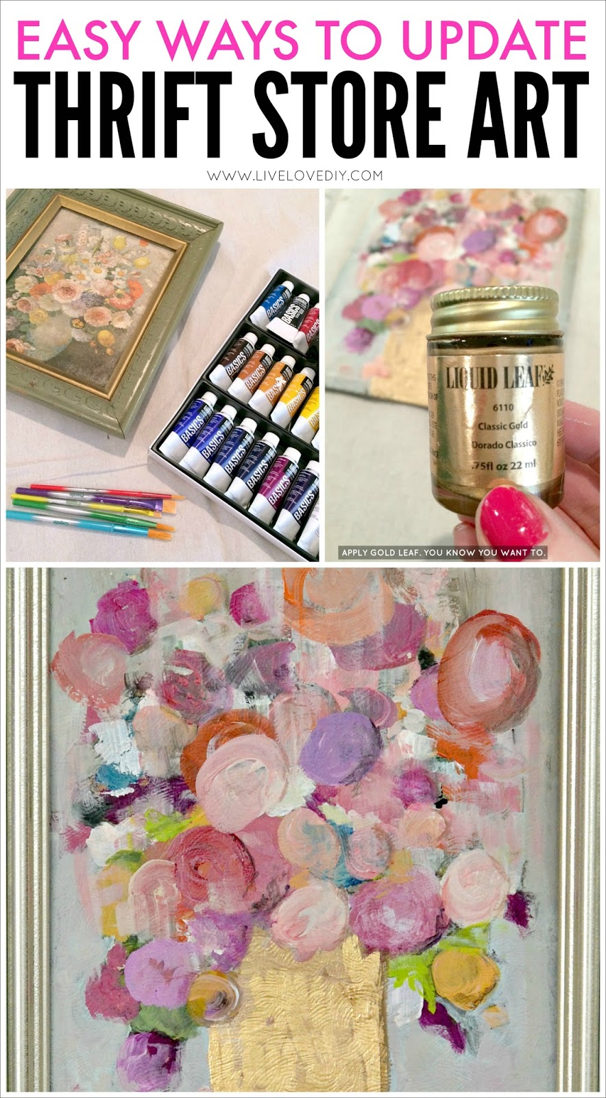 How To Easily Update Thrift Store Art! Love this idea!