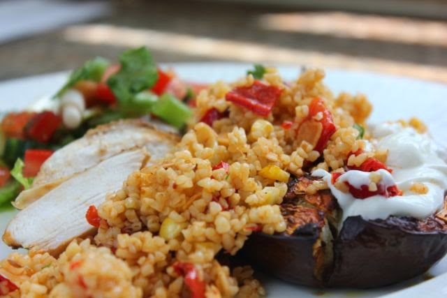 Chipotle aubergine and couscous