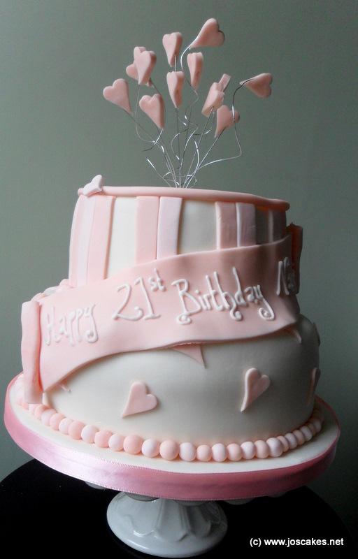 Jos Cakes Two Tier Pink 21st Birthday Cake