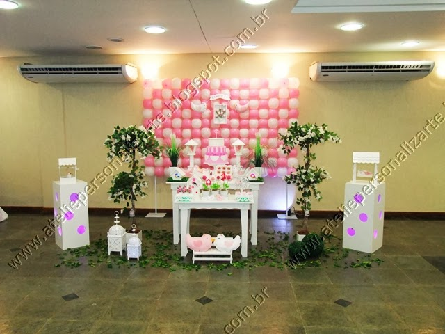 decoracao festa provencal branco e rosa