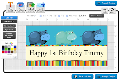 View of the Birthday Banner in the Online Designer