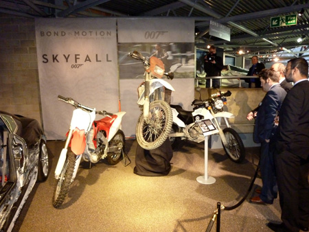 James Bond's Skyfall Motorcycle – Honda CRF 250R Two Honda CRF250R motorcycles from the set of SKYFALL have been added to the BOND IN MOTION exhibition at the National Motor Museum in the UK. The two Motorcycles feature in SKYFALL's opening sequence which was shot in Istanbul and Adana, Turkey earlier this year.In total twenty CRF250R machines