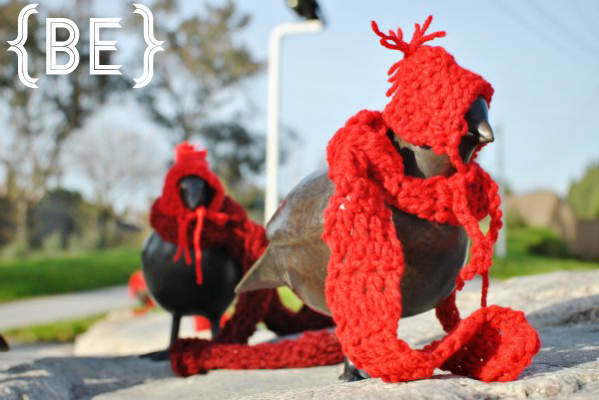knit hats and scarves for sculptures