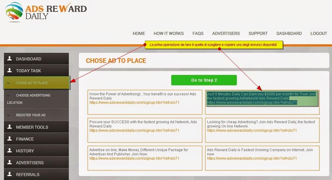 pubblicare l'annuncio giornaliero in Ads Reward Daily - scegliere annuncio