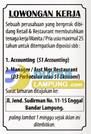 Lowongan Kerja Accounting & Manager terbaru Juni