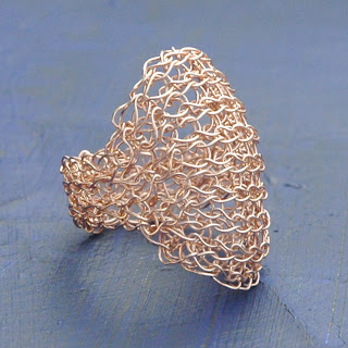 wire crochet rose gold ring