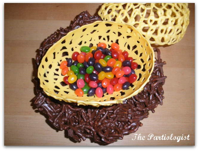 ... closely there are jelly beans in the nest the chocolate lace nest see