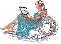 reclining woman made of wire reading ipad
