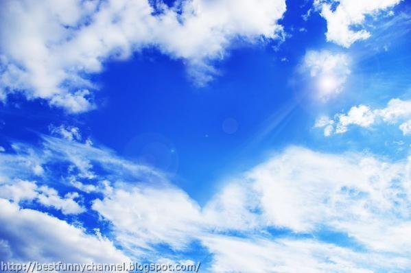 Heart between clouds.