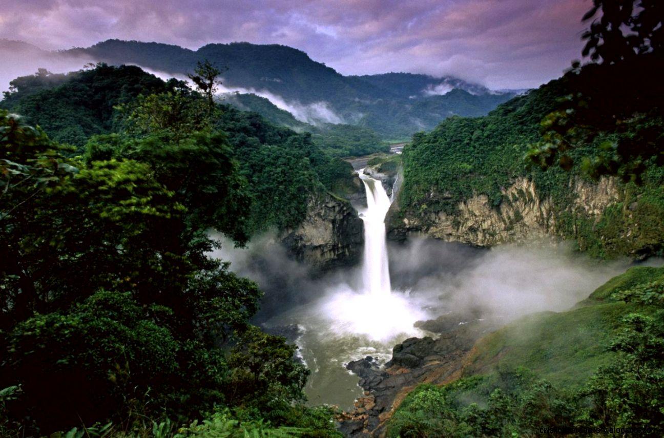 Rainbow Tropical Rainforest Waterfalls Cool Wallpaper