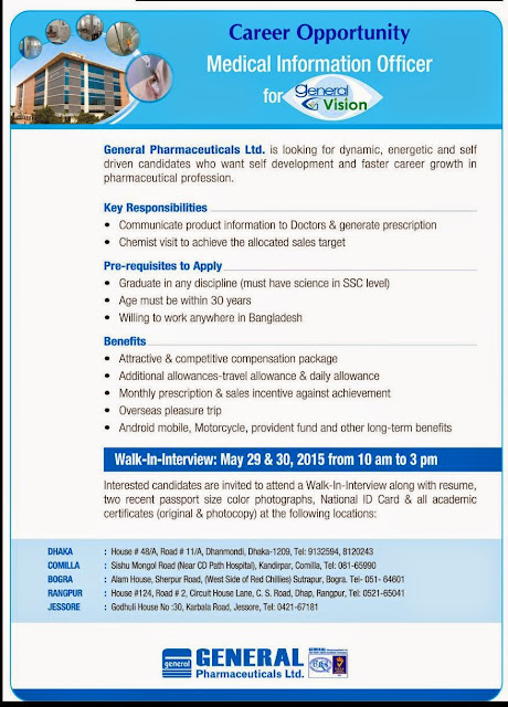 Post: Medical Information Officer,Organization: General Pharmaceuticals Ltd