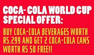 Get 2 FREE Coca Cola FIFA World Cup Cans on purchase of Coca Cola beverages worth Rs.299 or more