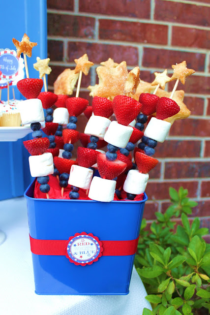Patriotic Fruit Kabobs for the Fourth of July from Pinterest.