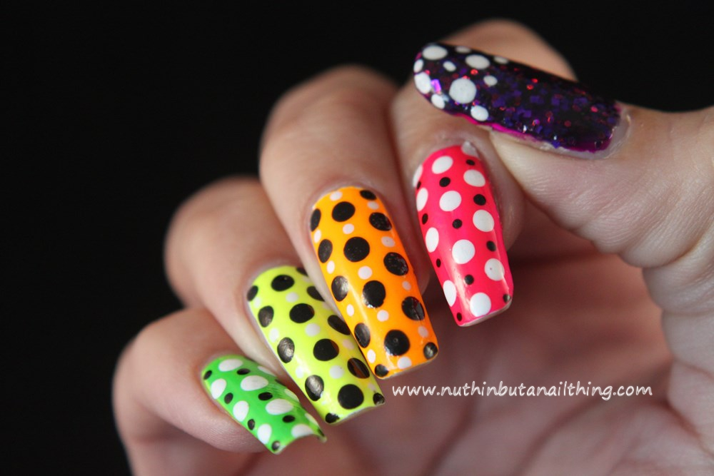 bright polka dot nail art