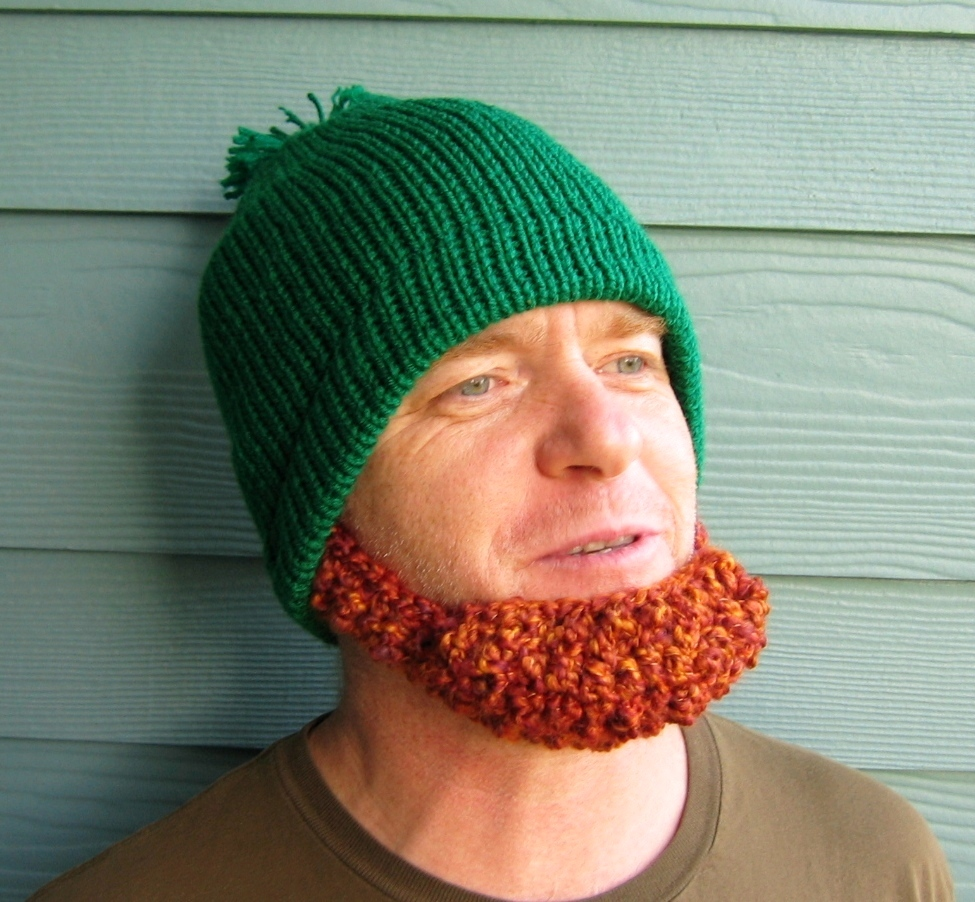 Free Beard And Moustache Knitting Pattern : .: St. Patricks Day Beard Beanie Hat- YES!