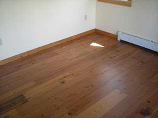 Engineered reclaimed pin wide board floor