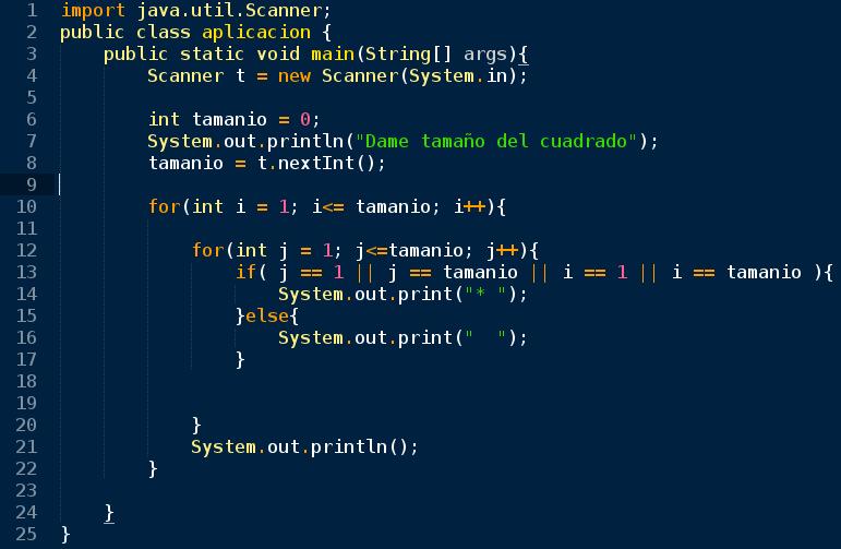 Ingeniero en Proceso Dibujar cuadrado vacio con asteriscos en Java