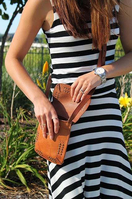 maxi dress, kate spade watch, black and white striped maxi dress, stripes, nashville blogger, nashville, batman building, summer purse, leather crossbody, camel leather purse, festival purse