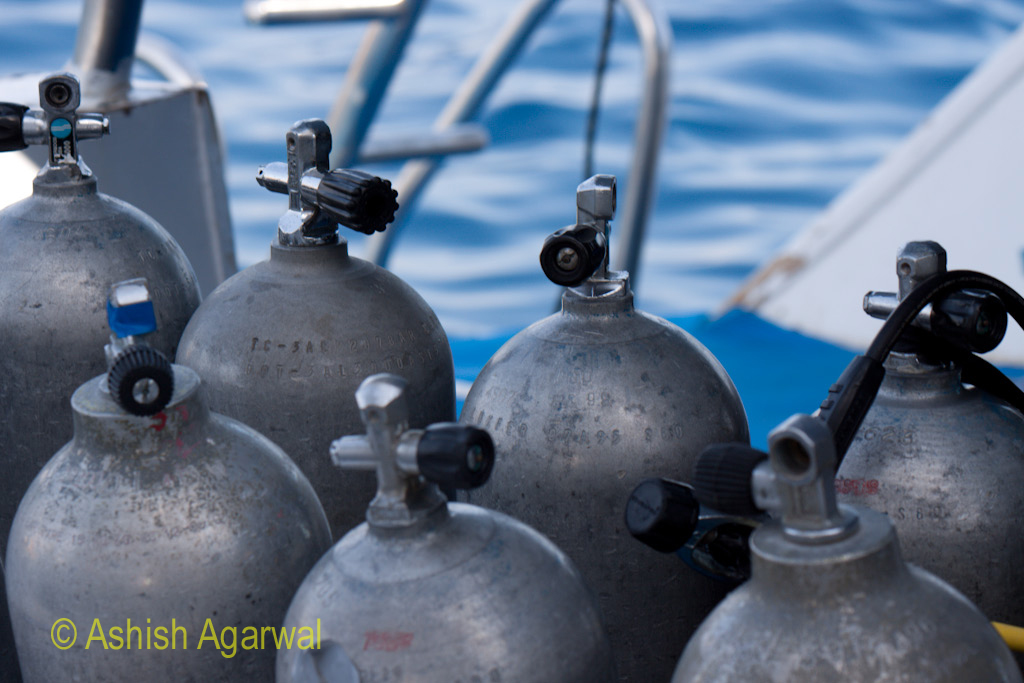 A more close up photo of the oxygen cylinders, being carried on the rear of the ship