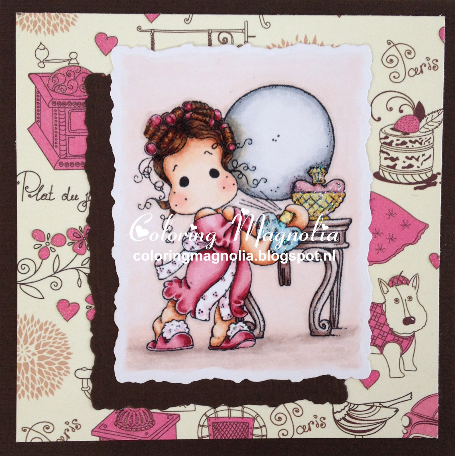 Coloring Magnolia Stamp 2014 Lost And Found Collection - Tilda Rose Scent - Tilda's Dressing Table