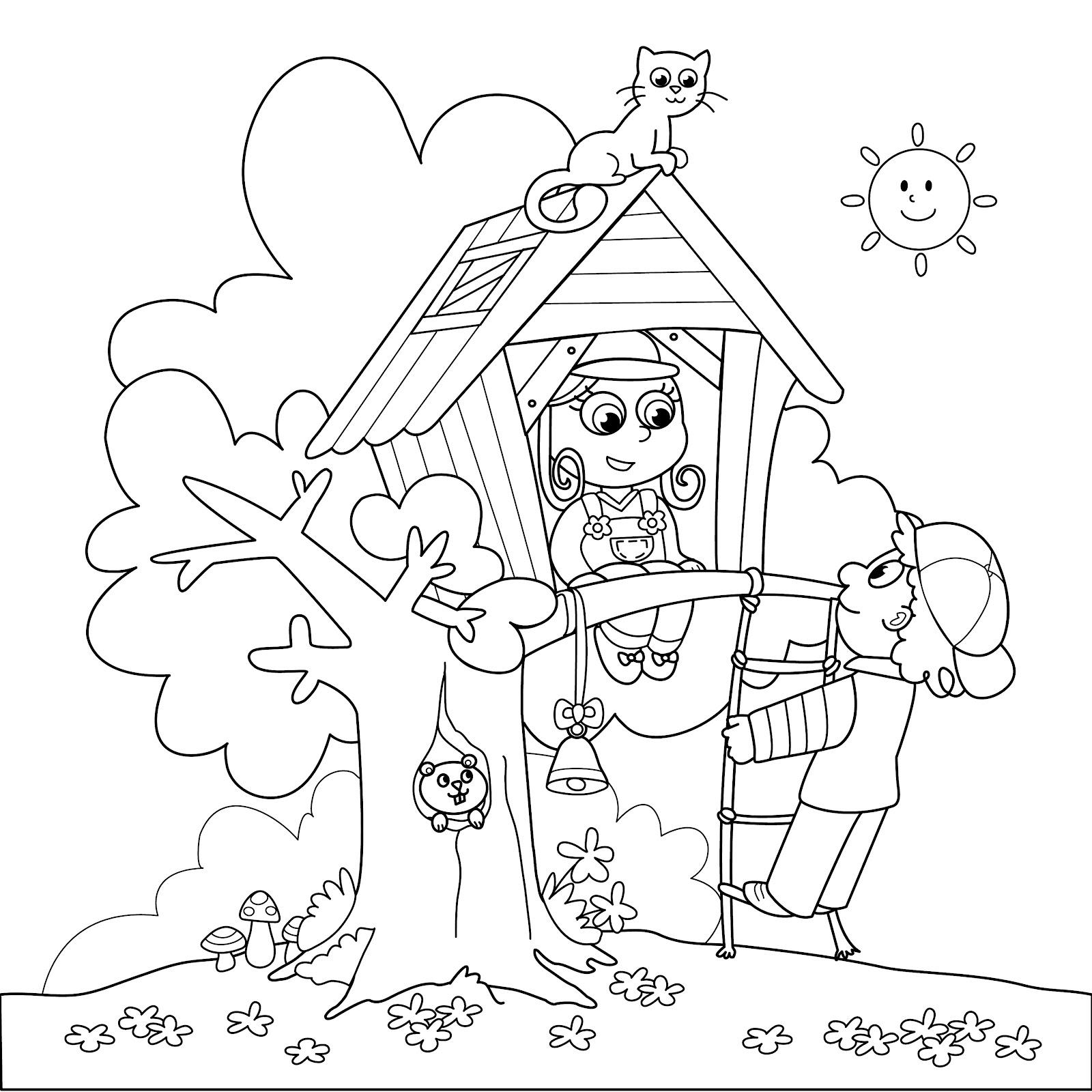 desenhos de casa na  u00c1rvore para colorir