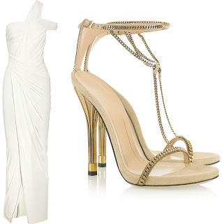 Donna Karan Gown, Gucci Sandals