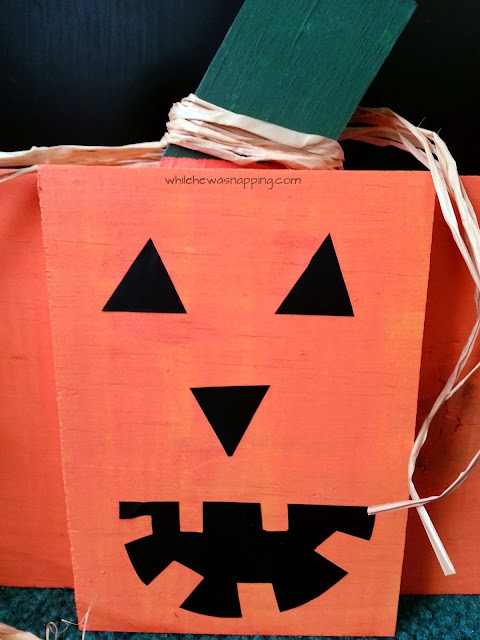 Vinyl+Jack o lantern Wooden Pumpkins from Krista @ While You Were Napping