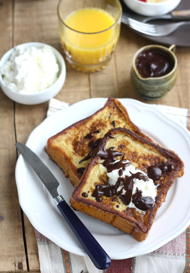 Cinnamon French Toast with Vanilla Whipped Cream and Chocolate Sauce by SeasonWithSpice.com