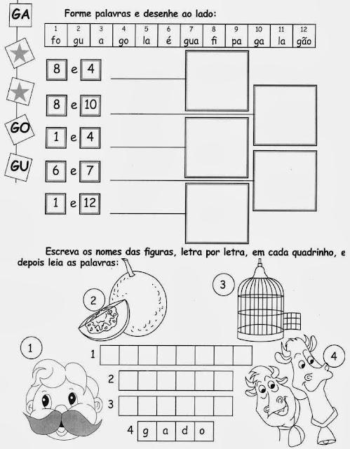 Atividades com a Letra G,alfabeto,alfabetização,anos iniciais, atividades para imprimir,letras,letra D,1º ano, ensino fundamental.