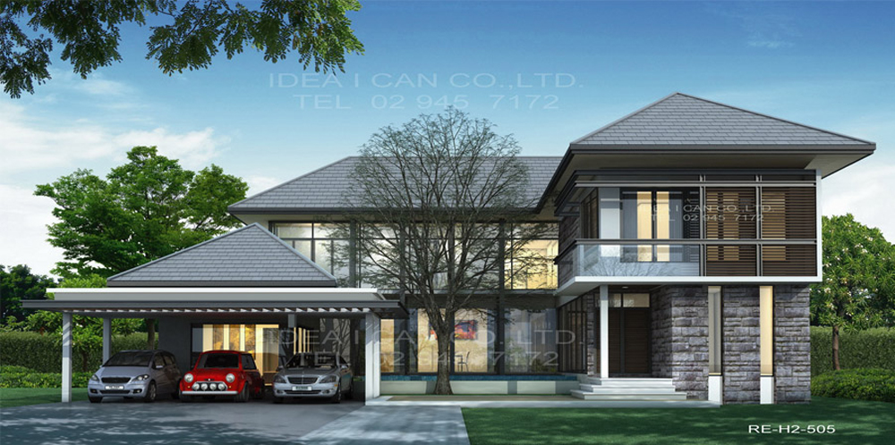 Resort floor plans 2 story house plan 4 bedrooms 6 for Thai modern house style