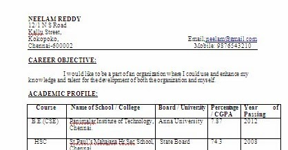 Sample resume for zoology