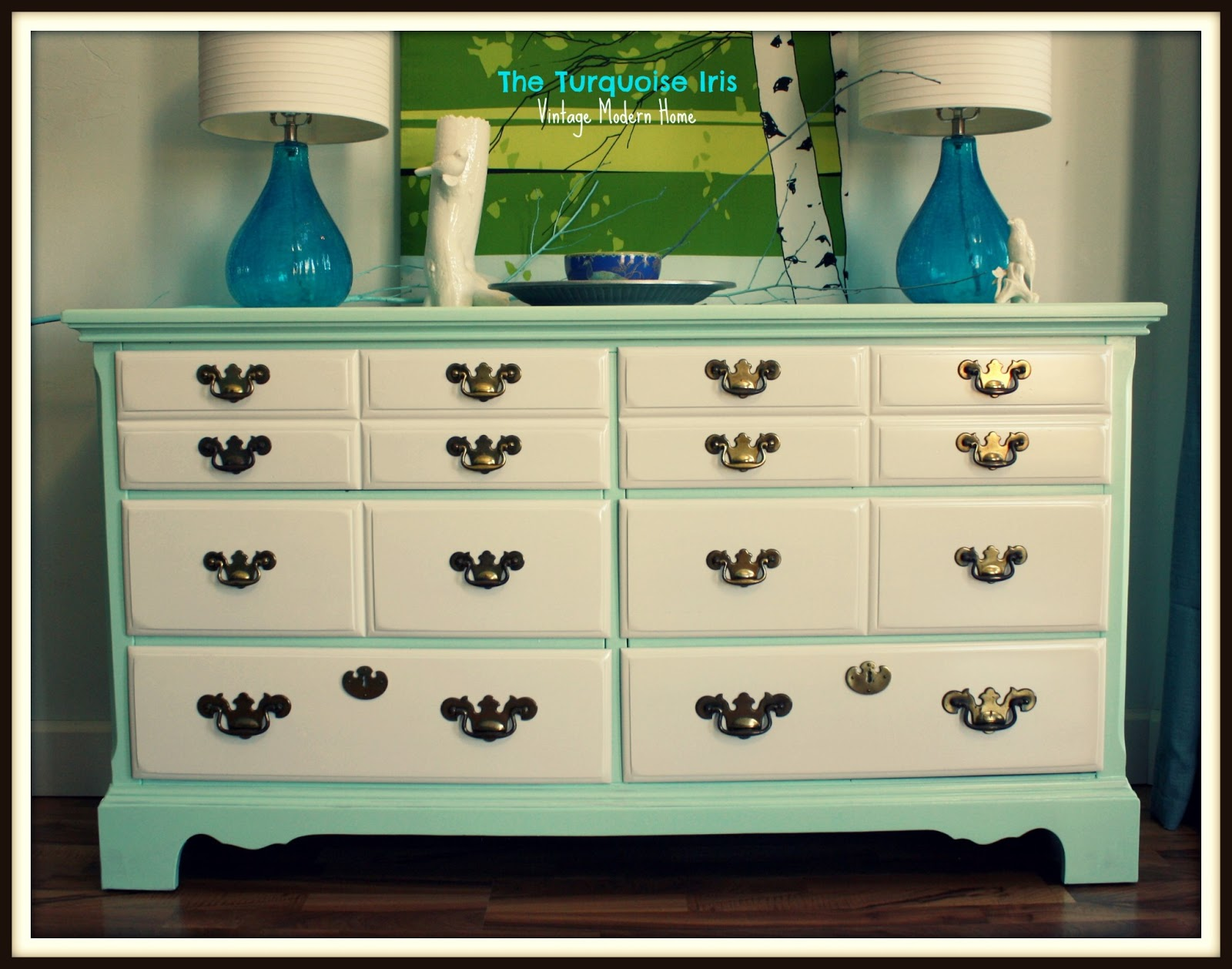 dresser of glossy mint and white makes my heart smile  It is so  refreshing  and the original brass pulls give it some sophistication. The Turquoise Iris   Furniture   Art  Mint and White Glossy