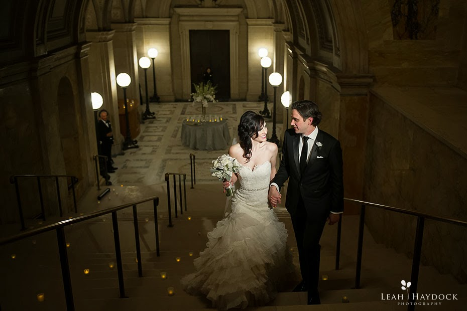 Wedding pictures on stairs at Boston Public Library