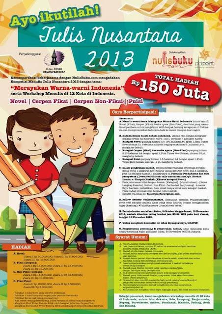 Ikuti Kompetisi Menulis Berhadiah Total 150 Juta & Workshop Tulis Nusantara 2013